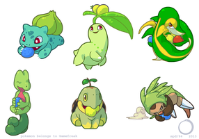 Grass type starters by perpetualfrustration