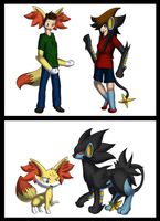 fennekin and luxray tf (collab) by Tomek1000