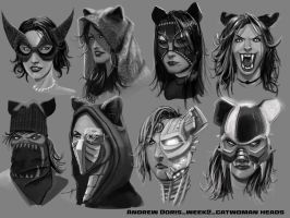Catwoman week2 head concepts by AndrewDoris