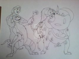 The Lion King's Timon and Pumbaa by aericmon