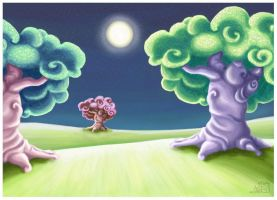 Dreamy Tree and Moon Plains by capsicum