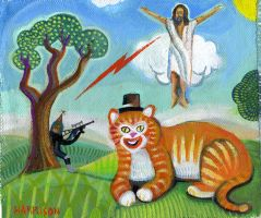 Catty Red Bolt Jesus Assassin by hyronomous