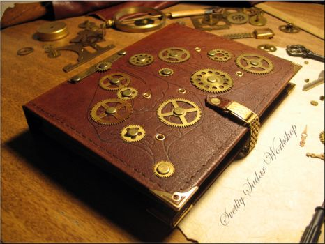 Steampunk leather note Metamorphosis by Svetliy-Sudar