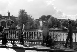 Artists on the Bridge BW by steppeland