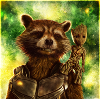 Guardians of the Galaxy Vol. 2 - Rocket and Groot by p1xer