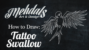 How to Draw a Tattoo Swallow by Mehdals