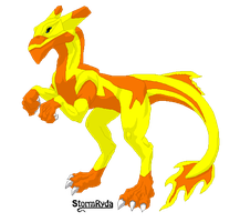 Honna the Yellow and Orange Magma Class Dragon by Finny-KunGoddess
