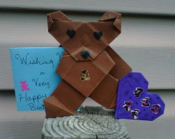 Origami bear and heart with card by crochetamommy