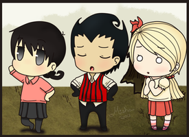 Don't Starve - Willow, Wilson, and Wendy chibi's by xMisha-chanx