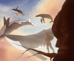 sky whales by MaskedCoyote