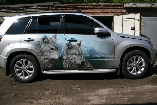 wolves on suzuki grand vitara 2 by hotabych