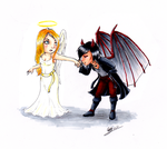 Angel and Demon by Emlucora