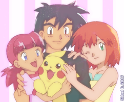 Ash's family [Pokemon] by SidselC