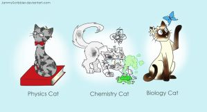 Science cats by JammyScribbler