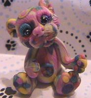 polymer clay peace bear by crazylittlecritters