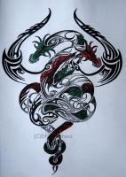 Dragons Entwined - Color - by weedenstein