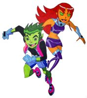 Starfire and Beast Boy by mhatton