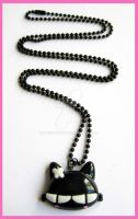 Black Kitty Necklace by cherryboop