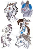 Dragon heads and such by acidshadow