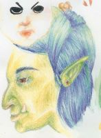 Green Water Color Pencil Troll by bigeyeddragyn