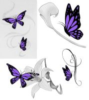 Purple Butterfly Tattoos by jess-wood