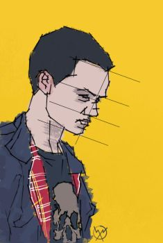 Lineart Self-Portrait In Colour by Tombstone138