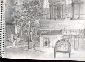 Cityscape of Ste-Catherine Street by Artemiche