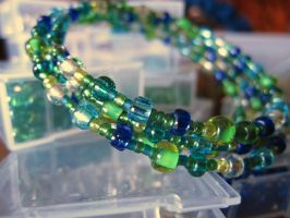 Blues, Greens and Teal Memory Wire Bracelet by Slersk