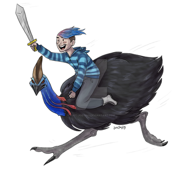 Cute Boy Rides Cassowary into Battle by Just-Joeying