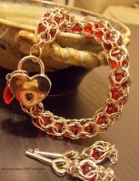 Red Captive Weave Necklace w Heart Lock by ulfchild