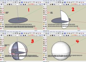 SketchUp follow-me sphere tuto by ninjatoespapercraft
