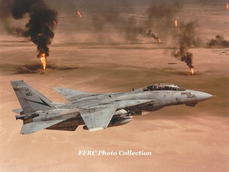 F-14B VF-24 NG-202 flying over burning oil wells by fighterman35