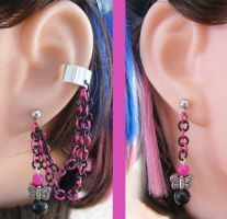 Pink and Black Chain Earrings by merigreenleaf