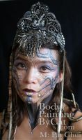 Steampunk atlantis alien face paint and glitter by Bodypaintingbycatdot