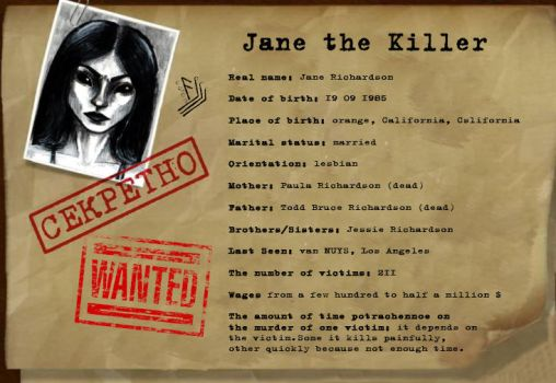Dossier about Jane the Killer by PapilioC