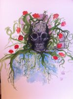 Skull and vines by dholoubek