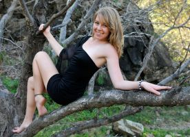 Talya - black dress in tree 1 by wildplaces