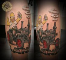 Homer Simpson bulldog lanz by 2Face-Tattoo