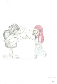 L and Erza by Dragonfly-V