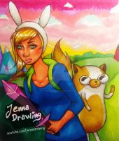 Fionna and Cake - Adventure Time Fanart by JennaDrawing