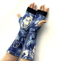 Blue, Urban Style Fingerless Gloves by WearMeUp