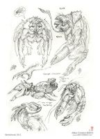 Insectoid Amphipods sketches by MIKECORRIERO