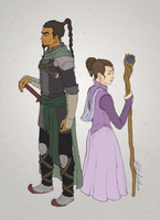 Warder and Aes Sedai by friedChicken365