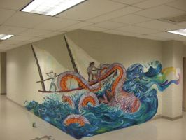 Sound School Kraken Mural by zombiepunked