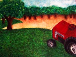 Orchard with tractor by Sincitykid