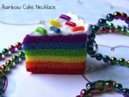 Clay Rainbow Cake Necklace by funkypinkgal