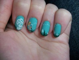 Fairy with dandelions nails inspired by RobinMoses by QueenAliceOfAwesome