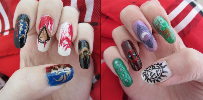 Game and random nail art by Moonlily5