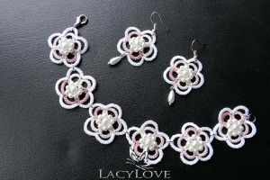 Tatted earrings and bracelet SPRING by LacyLoveHandmade
