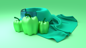Blender - Green Pepper - Napkin - Green Monochrome by lyssagal